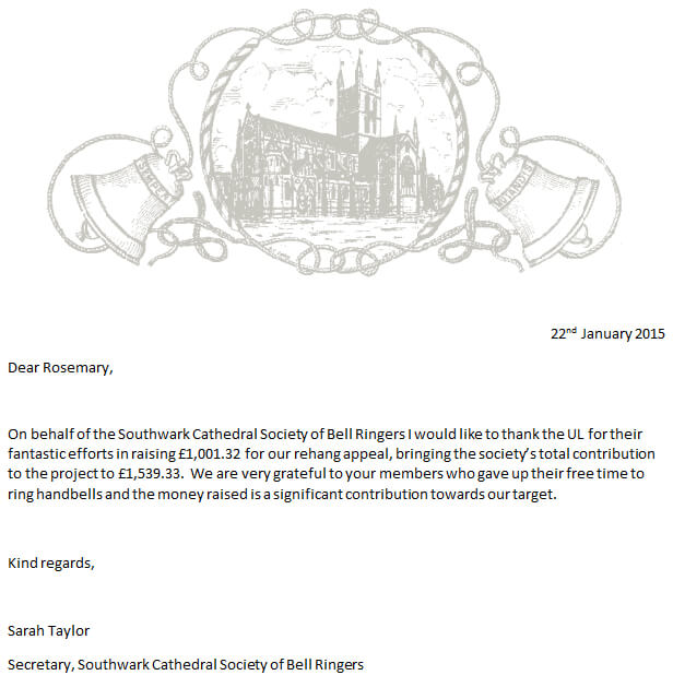 Southwark Letter of Thanks